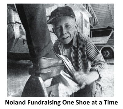Mike Noland fundraising one shoe at a time. (image)